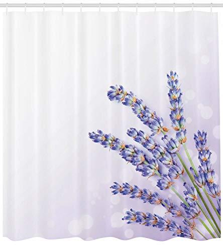 vrupi Lavendel Duschvorhang Bad frische Vanille Pflanze Poesie drucken 71x71inchi Waschplane einschließlich 12 Kunststoff Haken dicken Duschvorhang Wohnung Dekoration
