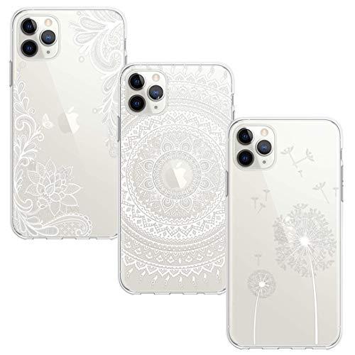BAOWEI [3-Stück] iPhone 11 Pro Hülle, Transparent Weiche Durchsichtig Dünn Handyhülle mit Süße Muster Silikon Klar TPU Stoßfest Schutzhülle Hülle für iPhone 11 Pro - Weiße Blume, Mandala und Löwenzahn