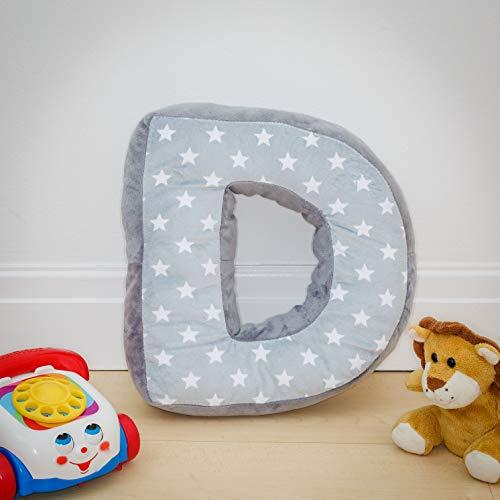 Coussin Alphabet D - Lettre D - Gris Initiale Cadeau Chambre d'Enfant