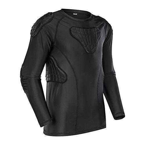 TUOY Kids Youth Padded Compression Shirt - Long Sleeve Padded Protective Shirt for Football Baseball Black