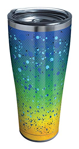 Tervis Mahi Pattern Stainless Steel Insulated Tumbler with Clear and Black Hammer Lid, 30oz, Silver