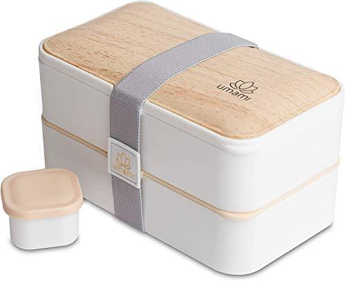 UMAMI Bento Box para adultos y niños New 2021 Edition, salsa y 4 cubiertos, fiambrera para hombres y mujeres, 2 recipientes para comida preparada, color blanco y bambú