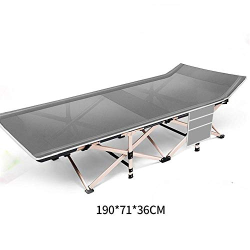 ZGQA-GQA Folding Bed Gray Folding Portable Camping Bed-190 * 71 * 36cm Adults Kids Double Fabric Thicken Tubes Side Pocket Sun Lounger Visitor Bed (Color : Gray, Size : 190 * 71 * 36cm)