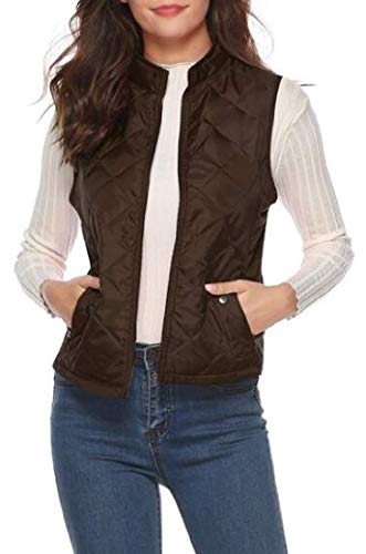 SLLI Womens Fall Winter Warm Sleeveless Plain Quilted Vests Waistcoats Jacket