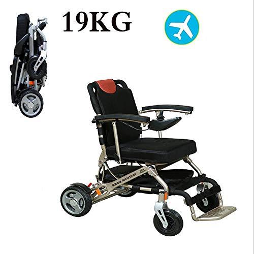 AINIDEMA Elektro-Rollstuhl, Sitz Verstellbar, Faltbar Leicht Gebraucht Reise-Leicht Gewichtler Für Die Wohnung,Ältere Und Behinderte Menschen,Metallisch