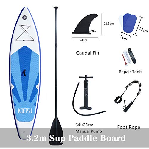 Paquete Sup Stand Up Paddle Board Hinchable 320 X 76 X 15 Cm hasta 130 Kg Mochila Correa Aluminio Kayak Paddle Air Pump,3.2m