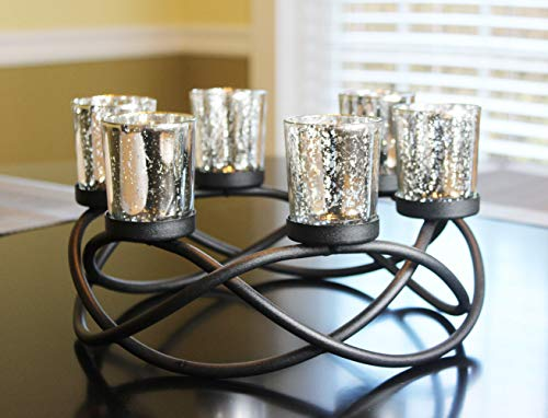 Seraphic Table Candle Holder Centerpieces, Black, Silver Votive Cups