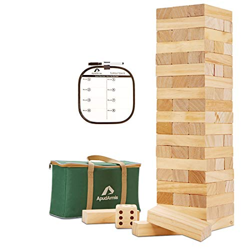 ApudArmis 60 PCS Giant Tumble Tower, (Stack up to 5Ft) Pine Wooden Stacking Timber Game with 1 Dice Set - Classic Block Giant Outdoor Game for Kids Adults Family