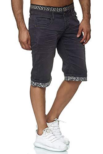 EGOMAXX Jaylvis Herren Jeans Shorts Kurze Bermuda Hose Dehnbund, Farben:Grau, Größe Hosen:29W