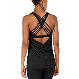 icyzone Women's Yoga Tank Tops Workout Clothes Activewear Athletic Sport Shirt Built in Bra