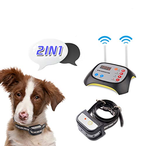 JUSTPET Wireless Dog Fence Training Collar 2 in 1 System, Dual Antenna More Stable Strong Signal, No Randomly Correction 1000 Feet Adjustable Range, Rechargeable Waterproof Dog Collar (Black)