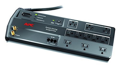 APC 11-Outlet Surge Protector 3400 Joules with Master Controlled Power Outlets and Telephone,...