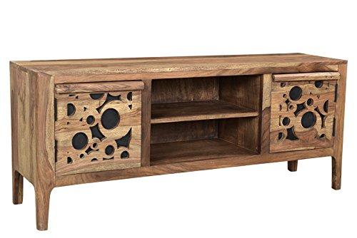 Sit Möbel Lowboard, Sheesham mit Öffnungen auf MDF-Platte, Natur mit Schwarzem Hintergrund