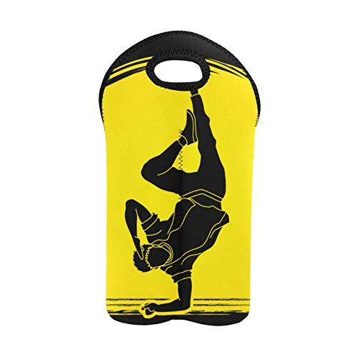 Weinflasche Geschenkbeutel Tänzer Hip Hop Street Dance B Utility Tote Doppelflaschenträger Liquor Carrier Bag Dicker Neopren Weinflaschenhalter hält Flaschen geschützt