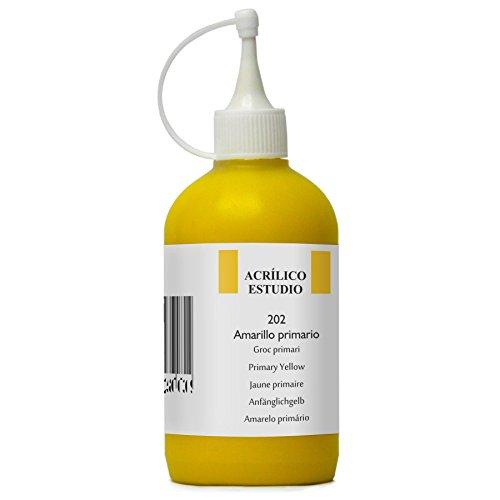 Lienzos Levante Pintura Acrílica Estudio, Envase de 250 ml, 202 Amarillo Primario
