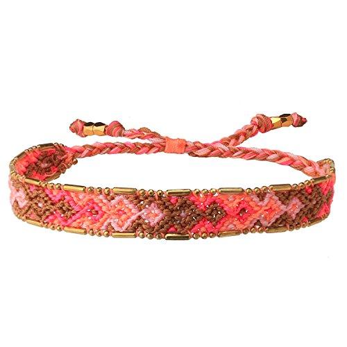 C · QUAN CHI Handgemacht Wickeln Samen Freundschaft Armbänder für Frauen Mädchen Boho Mehrfarbiges Seil Geflochtene Dünne Perlen Verstellbar