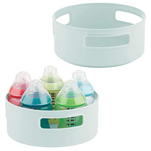 mDesign - Draaiende opberger - babykamer organizer/dienblad/carrousel - bergruimte voor kindervoeding en accessoires - draaibaar/met geïntegreerde handvatten - mintgroen