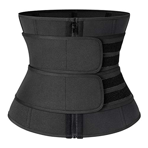 Neoprene Sauna Waist Trainer Corset Sweat Belt with 2 Straps for Women Slimming Sweat Band Compression Workout Fitness Trimmer,#1 Zipper Black,XX-Large