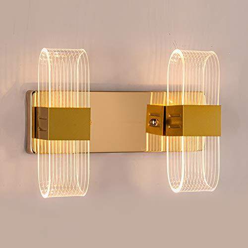 Luces de pared LED apliques de interior, de doble cabeza lámpara de pared, 12W, estilo moderno, perfecto para dormitorio, pasillo, pasillo, escaleras, blanco cálido