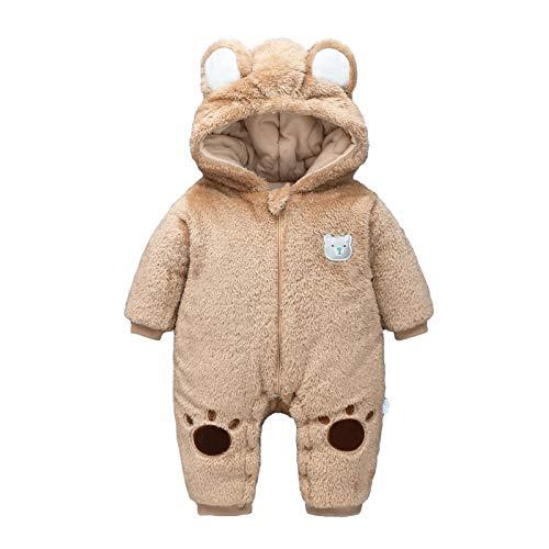 Pagliaccetto Bambino Invernale Tuta da Neve Cappuccio Fleece Jumpsuit Outfits Caldo Manica Lunga Abiti Orecchie da Orso Vestiti Neonato Regalo 0-3 Mesi Beige