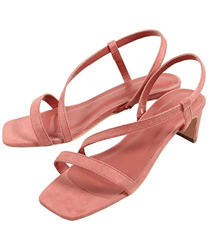 [神戸レタス] スリムヒールストラップサンダル [I2151] レディース 美脚 歩きやすい ヌーディー 夏 涼しい 涼しげ バックストラップ サンダル おしゃれ ヒール ストラップ 細ストラップ スクエアトゥ 大人 きれいめ 黒 白 ピンク 大人可愛い