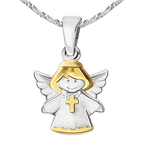 CLEVER SCHMUCK Set Silberner Mädchen Anhänger Kinderengel Bicolor mit Kreuz glänzend teilvergoldet mit Kette Singapur 40 cm Sterling Silber 925 im Taufe Etui weis