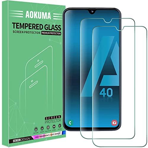 AOKUMA für Samsung Galaxy A40 Panzerglas,【2 Stücke】Glas kompatibel mit Samsung Galaxy A40 Schutzfolie, Premium Glasfolie mit 9H Festigkeit, Anti Kratzer, Splitterfest,Anti-Öl,Anti-Bläschen
