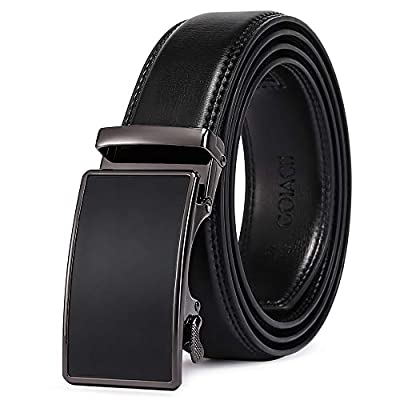GOIACII Men's Leather Belt Automatic Ratchet Buckle Slide Belt for Dress Casual Trim to Fit with Gift Box