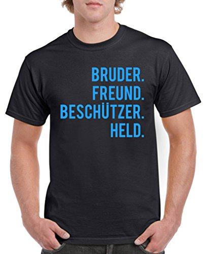 Comedy Shirts – Bruder Ami. Protections Held. T-shirt pour homme – Col rond, 100 % coton, manches courtes, T-shirt basique imprimé - Noir - XXX-Large