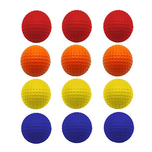 FINGER TEN Golf Übungsbälle Trainingsbälle 24 Stück Golfbälle Trainings Heimgebrauch Im Freien Garten Rot Orange Gelb Blau Für Damen Herren Kinder (Vier Farben, 24Stück)