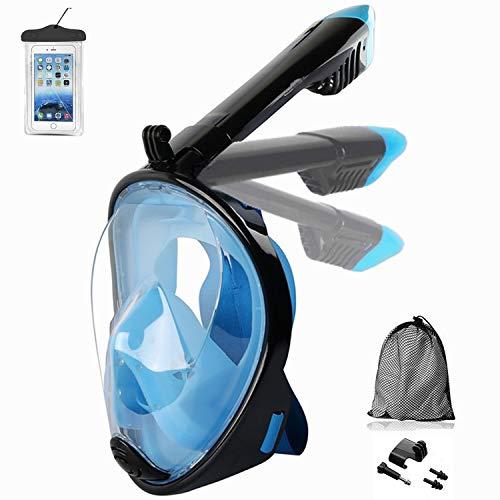 Churidy Schnorchelmaske Vollmaske Tauchmaske Vollgesichtsmaske Tauchermaske für Erwachsene und Kinder, Schnorchel Maske mit 180° Sichtfeld, Anti-Fog Anti-Leck, mit Kamerahaltung