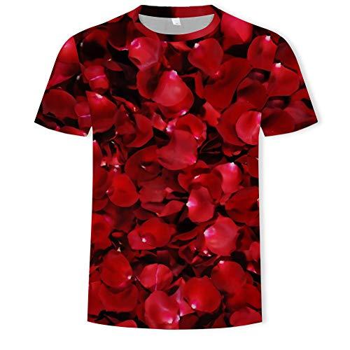 XJWDTX T-Shirt Manches Courtes Col Rond Imprimé Rose pour Homme