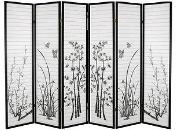 SQUARE FURNITURE 6 Panel Bamboo Floral Room Divider Black