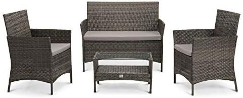 SVITA Brooklyn Gartenmöbel Poly Rattan Sitzgruppe Essgruppe Set Sofa-Garnitur Lounge (Grau)