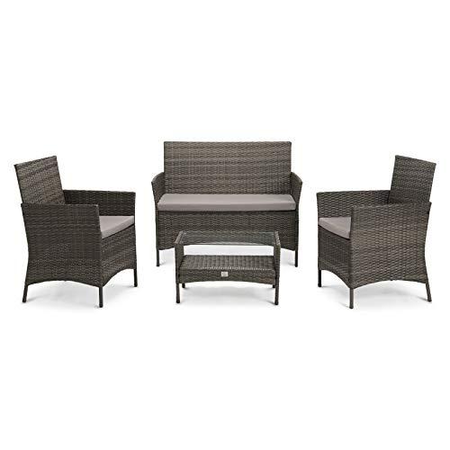 SVITA Brooklyn 2020 Gartenmöbel Poly Rattan Sitzgruppe Essgruppe Set Sofa-Garnitur Lounge (Grau)