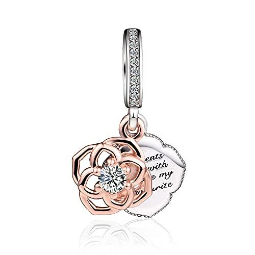 Diy 925 Colgante De Pandora Original Plata De Ley Rosa Dijes Colgantes En Forma De Pulseras Cuentas Para Mujer Fabricación De Joyas