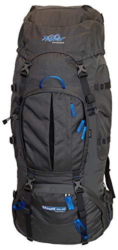 Tashev Outdoors Mount Trekkingrucksack Wanderrucksack Damen Herren Backpacker Rucksack groß 100l Plus 20l mit Regenschutz Blau & Grau (Hergestellt in EU)