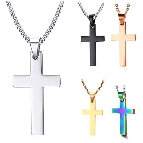 DaMei Bibel Gebet Kreuz Unisex Anhänger Personalisiert kreuzkette mit Gravur Kruzifix Anhänger BFF Kette mit Kreuz Herren Halskette mit Kreuz Manner Geschenk Kreuz Kette (Silver)