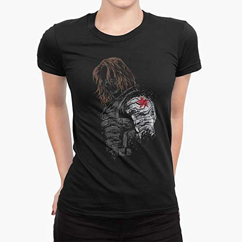 Camiseta Babylook Unissex Algodão Buck Soldado Invernal Capitão América Marvel Tumblr (Preto, XG)
