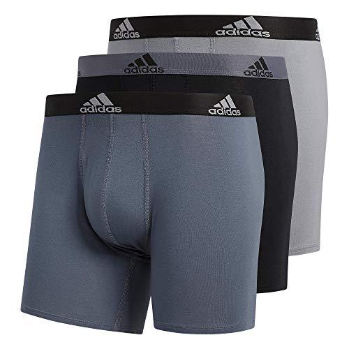 adidas Men's Stretch Cotton Boxer Brief Underwear (3-Pack) Boxed, Onix Grey/Black/Grey, X-Large