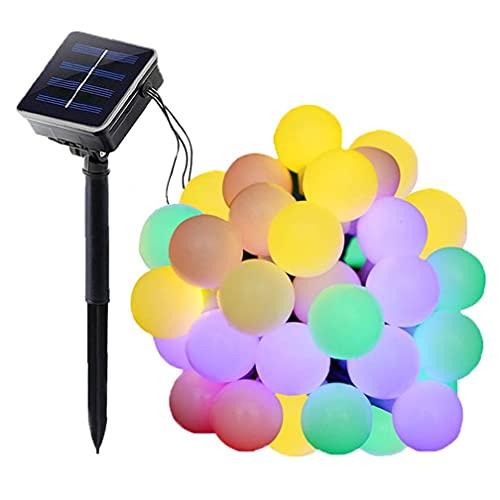XKJFZ Bola Secuencia del LED LED a Prueba de Agua con energía Solar Luz de Navidad Decoración de Jardín Dormitorio Multicolor 12M, Luces solares del jardín
