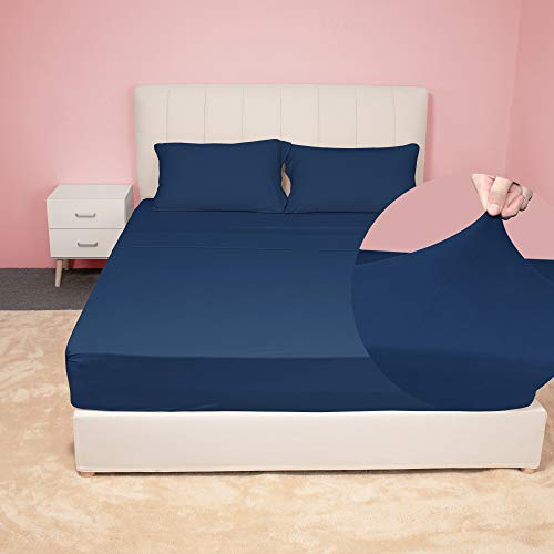 N&Y HOME Stretch Sheets Set Queen Size - Microfiber Jersey Knit & T-Shirt Like Extra Soft, 4 Way Stretchy Bed Sheets to Fit Most Mattress, Wrinkle Resistant - 4 Piece Sets, Navy, Queen