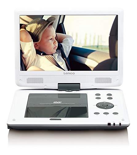Lenco Tragbarer DVD-Player DVP-1063WH 25,4 cm (10 Zoll) DVB-T2, HD Tuner, 12V Adapter, USB, SD, 220V Netzteil, weiß