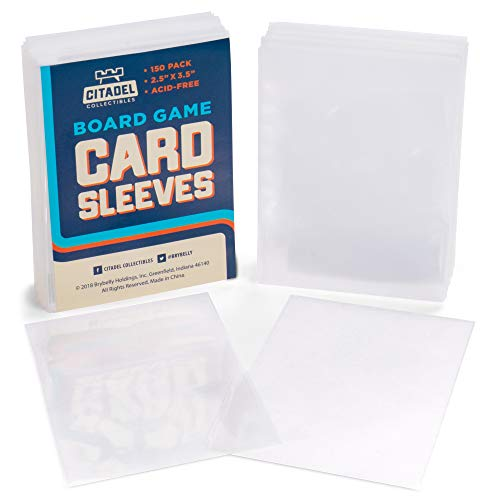 "150 Card Sleeves | Smooth Durable 2.5"" x 3.5"" Plastic Card Protectors for Board Game Components & Collecting Card Games 