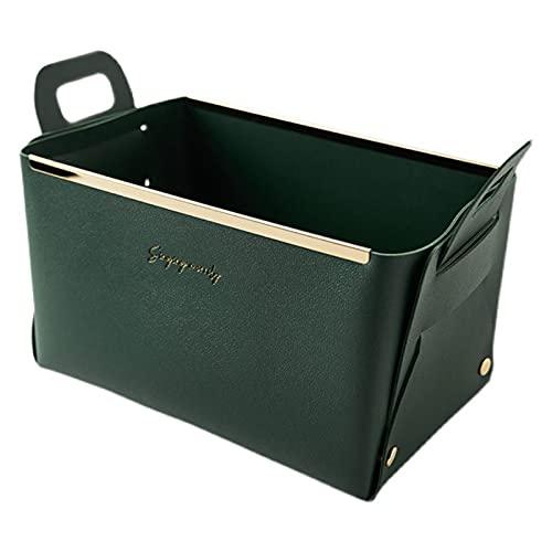 Caja de almacenamiento de piel con asas, pequeña caja de almacenamiento, organizador de escritorio, cesta para oficina, salón, estudio, dormitorio, 22 x 14 x 12,5 cm (verde oscuro)