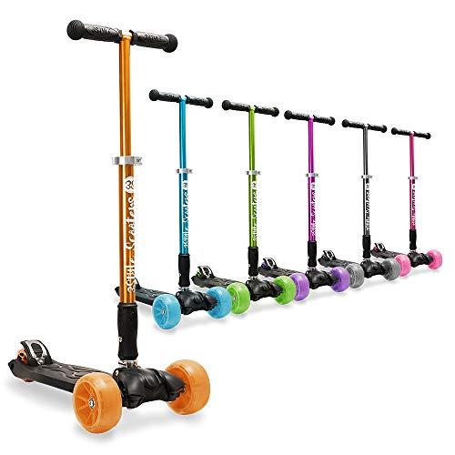 3StyleScooters® RGS-3 Patinete de Tres Ruedas para Niños Mayores Niños de 7 Años o Más con Luces LED en Ruedas de 5cm, Diseño Plegable, Manillar Ajustable