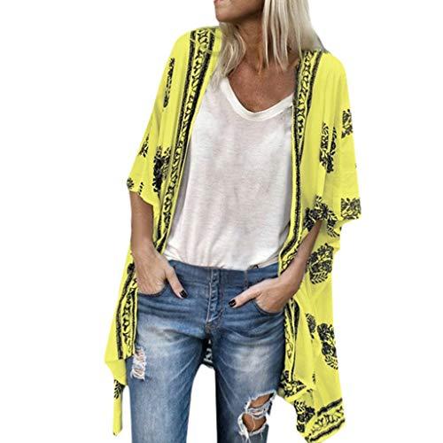 Andouy Kimono Stil Gedruckt Sonnencreme Shirt Jacke Cardigan Boho Beachwear Badeanzug Cover-Up Strickjacke Oberteile(5XL(54).Hellgelb)