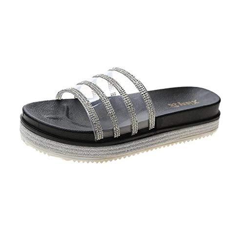 LJJYF Zapatillas de Estar por Casa de Mujer/Hombre de,Zapatillas de Mujer Sandalias de Espiga Sandalias de Verano con Diamantes-Black_EU37