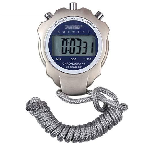 WMYATING Operación precisa de una tecla, Pantalla Grande cl Cronómetro de Fitness de Metal, Reloj Deportivo electrónico Reloj Multifuncional Impermeable