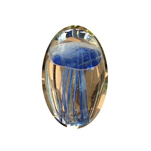AMITD Farbige handgemachte Glühen Glas Qualle Briefbeschwerer Aquarium Kristall Kunst Handwerk Sammlerstück (Blau)